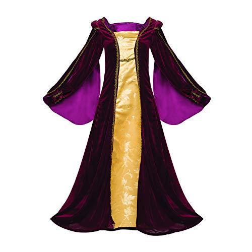 Velvet Tudor Dress Plus Size Gold Trim Damask Inset Layered Renaissance Luxury (2X, Burgundy) ()