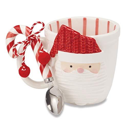 Mud Pie Christmas Santa & Reindeer Mug & Candy Cane Spoon Set (Santa) -