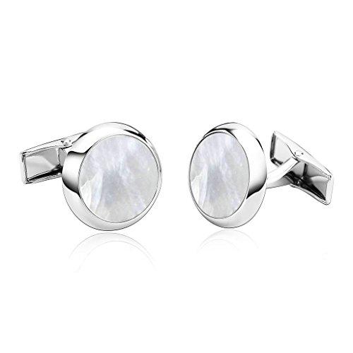 KnSam Men Stainless Steel French Cufflinks Circle White ()
