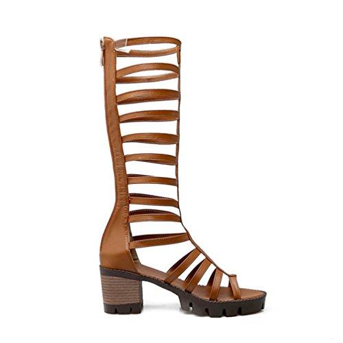YOUJIA Damen Sommer Römersandalen Plateau Schuhe Peep-Toes Reißverschluss Kniehohe Gladiator Sandalen Gelb