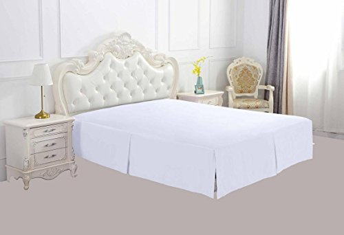 - Luxurious Hotel Collection 15 Inch Drop (Twin, White) Bed Skirt with Box Pleats and Split Corners - Brushed Microfiber Wrinkle & Fade Resistant - By Philly Linens