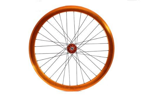Fyxation Pusher Sealed Bearing Fixie Wheelset, Orange (Fixed Gear Wheelset)
