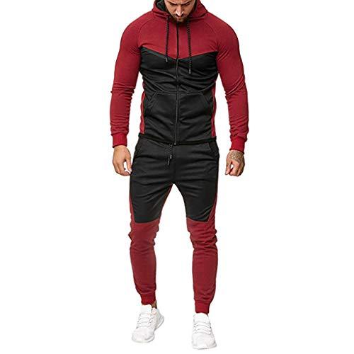 RAINED Men's Splicing Autumn Sweatshirt Zipper Top Pants Sets Fashion Casual Sport Suit Plus Size Suit Tracksuit ()