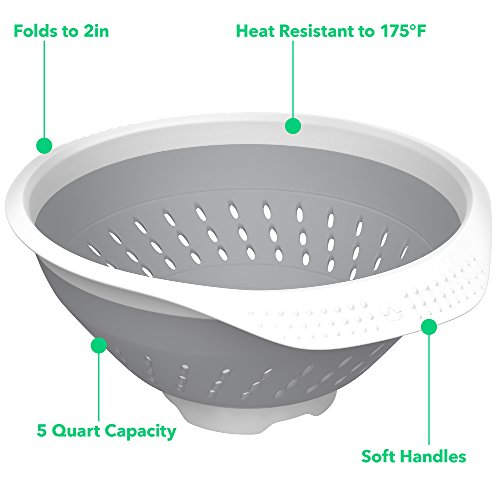 Vremi 5 Quart Collapsible Colander - BPA Free Silicone Food Strainer with Plastic Handles - Heavy Duty Foldable Heat Resistant Pasta and Veggies Kitchen Drainer Steam Basket - Dishwasher Safe - Gray by Vremi (Image #3)