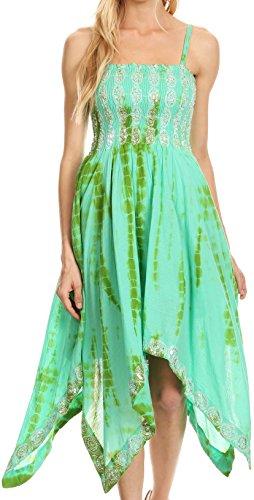 Sakkas 172056 - Endea Tie Dye Smocked Bodice Hi-Low Handkerchief Hem Dress - Mint - ()
