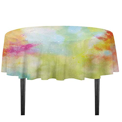 kangkaishi Colorful Washable Tablecloth Cloudy Milky Way Like Blur Smokey Colors Dust Powder Universe Outer Space Print Dinner Picnic Home Decor D35.4 Inch Multicolor