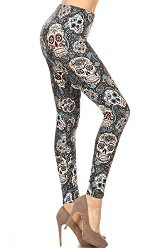 S115-PLUS Speaking Skulls Printed Leggings