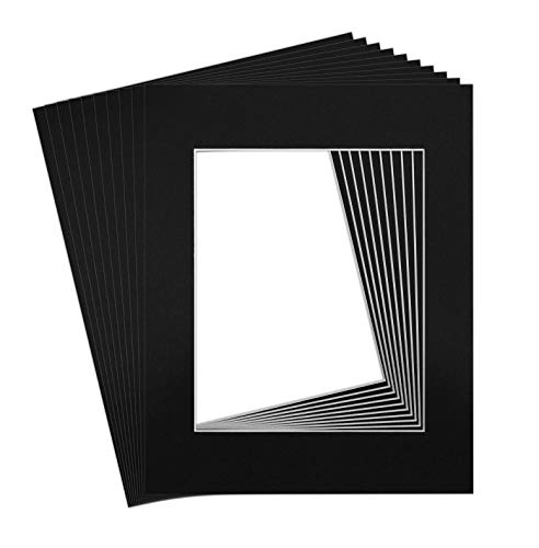 Golden State Art, Pack of 10 11x14 Black Picture Mat Set with White Core Bevel Cut for 8x10 Pictures]()