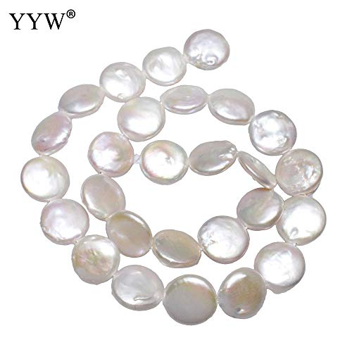 Calvas Classic 15.3inch/Strand Cultured Coin Freshwater Pearl Beads Flat Round Natural White 14-15mm Wholesale Woman Handmade Jewelry ()