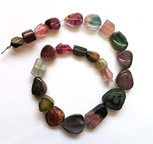 Brand New Amazing Quality 8 inch Strand Natural Watermelon Tourmaline Slices Smooth Slices Drilled Slices, 5x7 mm to 9x15 mm