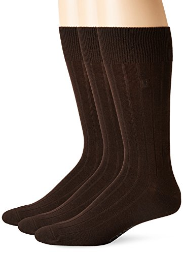 Acrylic Rib Socks (Chaps Men's Solid Rib Casual Crew Socks with Embroidered Logo (3 Pack), Brown, Shoe Size 6-12/Sock Size 10-13)