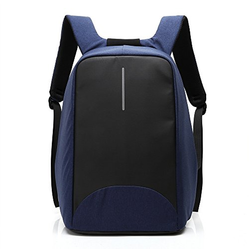 Anti-theft Business Laptop Backpack with USB Charging Port Fits to 15.6 Inch Computer Lightweight Water-resistant Knapsack Blue