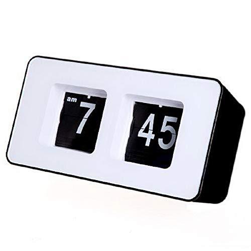 SODIAL Digital Auto Flip Desk Clock Classic Stylish Retro Desktop Flip Page Alarm Clocks Household Bedroom Study Kitchen Office Clock(Black)
