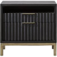 Modus Furniture 8ZU581 Kentfield Nightstand, Black Drifted Oak