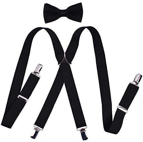 YJDS Kids Suspenders and Bowtie Set Adjustable X Back Black 30 -