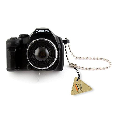 IDS Mini Black SLR Camera Toy Keychain Keyring Flash Torch Charm Ornament Decoration