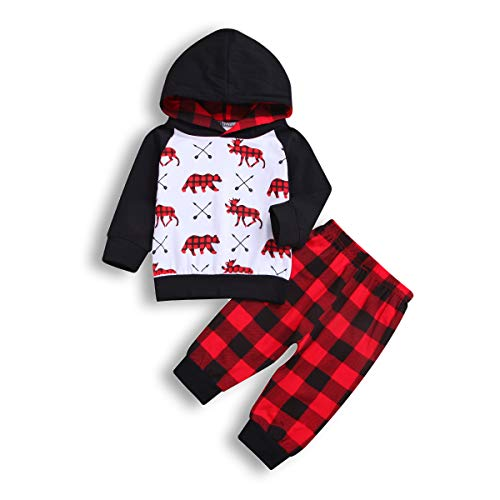 52378a1d2 ZOELNIC Baby Girls Boys Thanksgiving Outfit Hooded Pocket Tops + Turkey Pants  Clothes Set (Black