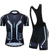 Men's Cycling Jersey Set Quick-Dry Bike Shirt for Men with 3D Padded Bib Shorts