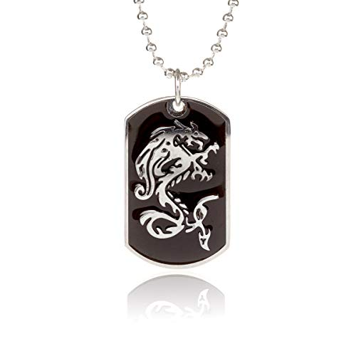 GL Creations Stingray Men's Stainless Steel Black Inlay Dragon on 20