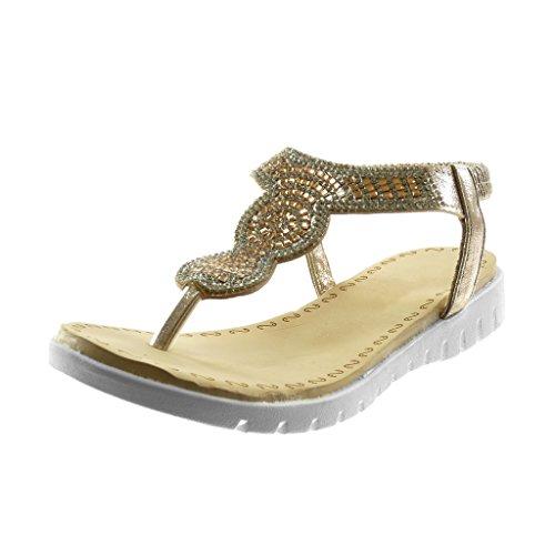 Angkorly Zapatillas Moda Sandalias Chanclas Slip-On Correa Mujer Strass Plataforma 2.5 cm Oro