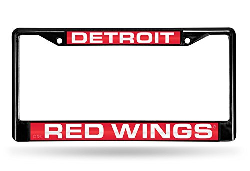NHL Detroit Red Wings Laser Cut Inlaid Standard Chrome License Plate Frame, 6