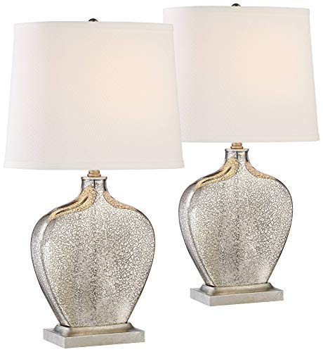 Axel Modern Table Lamps Set of 2 Mercury Glass Gourd White Fabric Shade for Living Room Family Bedroom Bedside Office