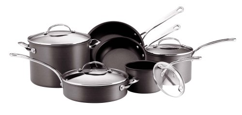KitchenAid Gourmet Reserved 10-Piece Hard-Anodized Cookware Set, Black