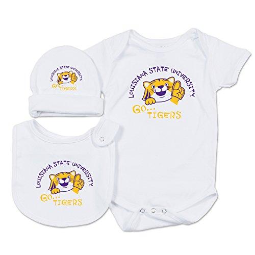 NCAA LSU Tigers Baby Essential Set, 0-3 Months, White
