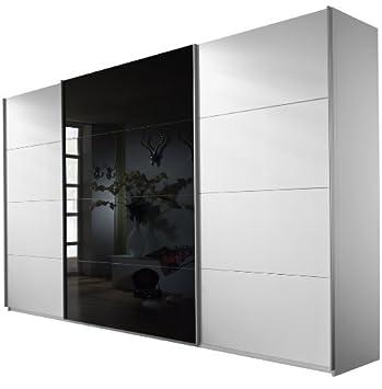 Schwebetürenschrank weiß schwarz  Rauch Schwebetürenschrank Kleiderschrank 3-türig Weiß Alpin, Glas ...