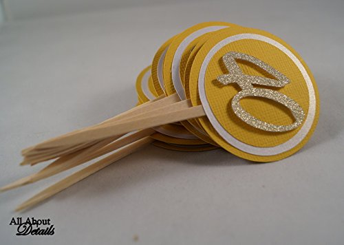 All About Details Gold 40 Cupcake Toppers, Set of 12
