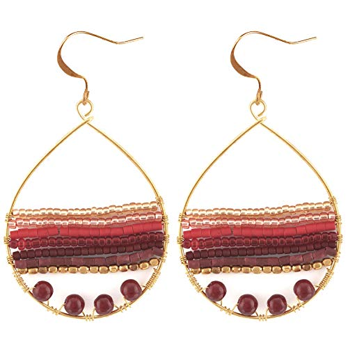 (Akitai Coral Red Shades American Indian Bohemian Sequin Hoop Gypsy Jewelry Novelty Women Fashion Earrings )
