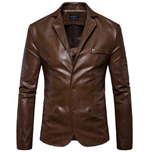 XINHEO 1 Solid Long Lapel Coat Slim Sleeved Mens Leather Faux Fit fTrHfaq