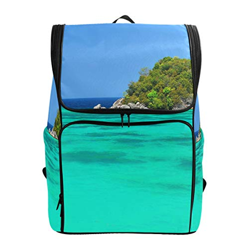Canvas Backpack Ocean Hawaii Mountain Blue Sky Large Capacity School Daypack Bookbag Laptop Backpack