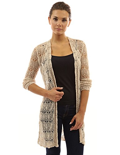 Crocheted Duster - PattyBoutik Women Open Stitch Crochet Lace Cardigan (Beige X-Large)