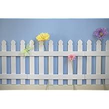 2 pcs White Wooden Picket Fences for Kids Room Wall Border Garden Room Decor