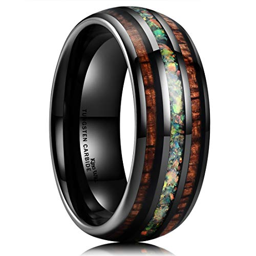 (King Will Nature 8mm Tungsten Carbide Wedding Ring Inlaid with Real Wood & Multicolor Opal Engagement Band 8.5)