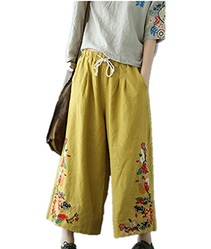 YESNO P45 Women Cropped Pants 100% Linen Casual Loose Wide Leg Ethnic Embroidery/Pockets