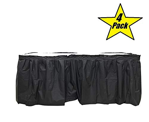 Table Skirts Plastic (4 Pack Black Table Skirt Carnival, Circus, Birthday, office, party)