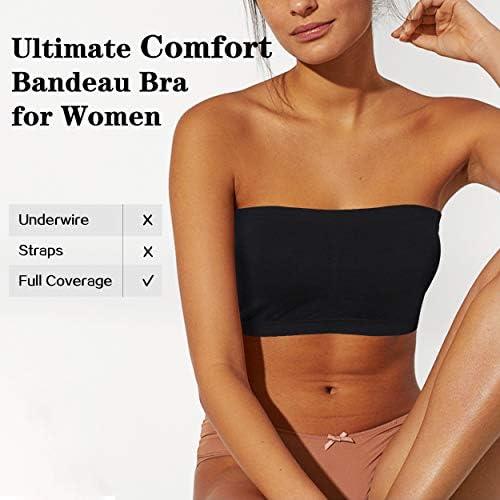 41AJ5rjHf0L. AC - JPGO Padded Bandeau Tube Top Bra Strapless Brarette Soft Bra For Women Size S-XXXL