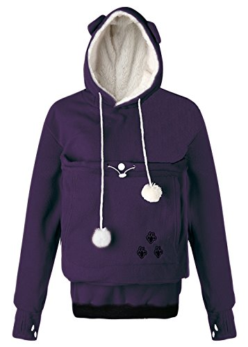 Kingdilor Women Pullover Fleece Hoodies Pet Holder Cat Dog Kangaroo Pouch Carriers Sweatshirt S-3XL (2XL, ()