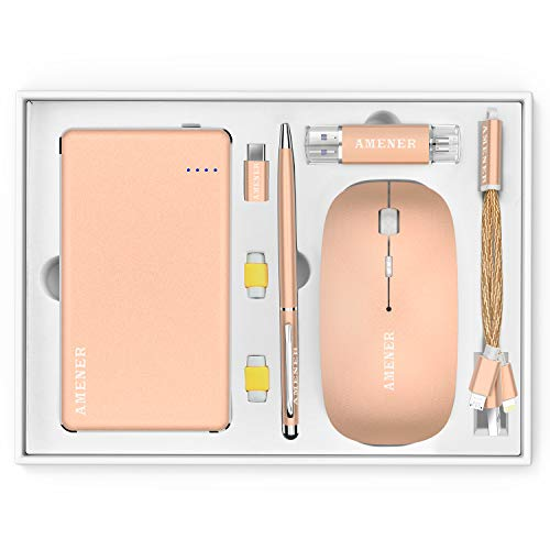 Office Supplies Power Bank 10000mAh Wireless Mouse Build in Receiver Flash Driver 32GB Charger Cable Savers USB C Touch Pen Business Gift for Men Valentine's Day(Gold)