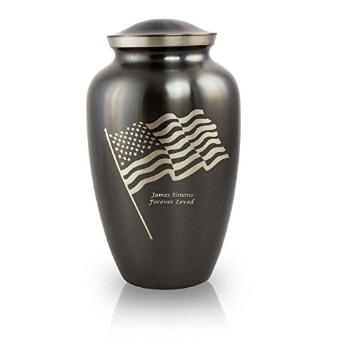 Personalized Patriotic Cremation Urn - Waving Flag Gray Metal - 210 Pounds by OneWorld Memorials