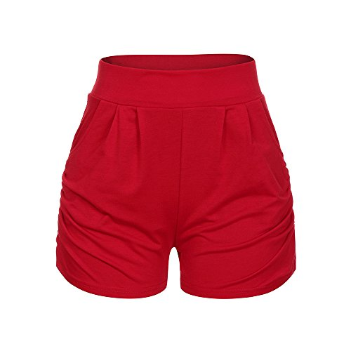 Farjing Women Shorts, Lady Summer Beach Trousers,Summer Solid Loose Hot Pants(XL,Red ()