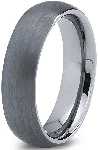Charming Jewelers Tungsten Wedding Band Ring Grey 6mm Men Women Comfort Fit Dome Brushed Size 15