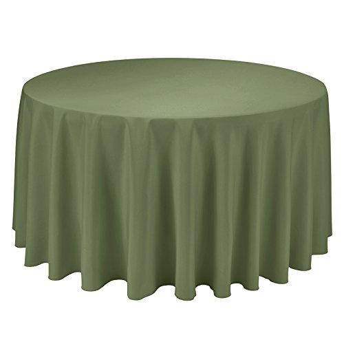 (VEEYOO Round Tablecloth 100% Polyester Circular Bridal Shower Table Cloth - Solid Soft Dinner Table Cover for Wedding Party Restaurant (Olive, 132 inch))