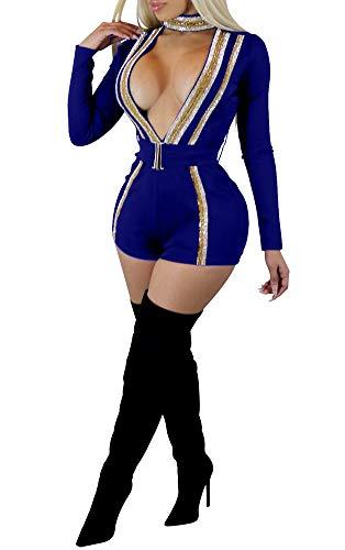 Nhicdns Womens Choker Long Sleeve Deep V Neck Glitter Sequin Short Romper Jumpsuit Playsuit with Belt
