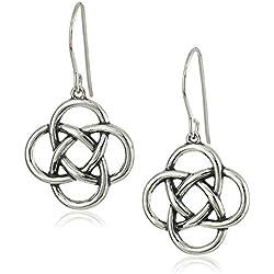 Sterling Silver Oxidized Celtic Knot Drop Earrings