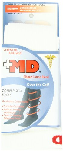 MD USA Ribbed Cotton Compression Socks, White, Over the Calf, Medium
