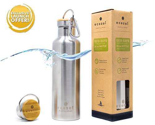 Hot Hooks (Ecozoi Vacuum Insulated Stainless Steel BPA Free Hot Thermos Flask Water Bottle (25 OZ). Double Walled, Leak Proof, & Wide Mouth - Easy to Add Ice, Fruit, Coffee, or Tea - Keeps Drinks Cold or Hot)