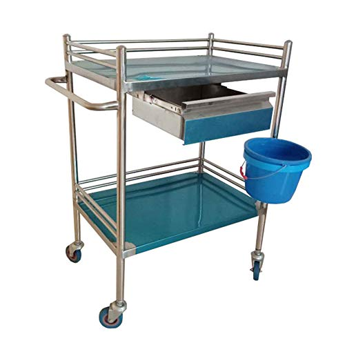 - ERRU- Stainless Steel Trolley, Medical Clinic Trolley with Drawers, Beauty Salon Equipment Tool Cart, 2 Shelf Service Cart (Size : S(60x40x86cm))